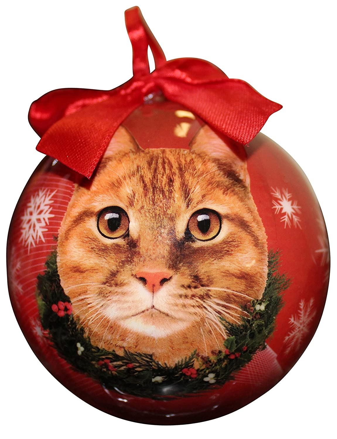 Amazon.com : Tabby Cat Christmas Ornament Shatter Proof Ball Easy ...