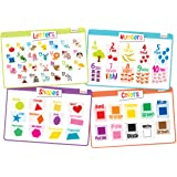 merka Educational Kids Placemats Set of 4: Alphabet, Numbers, Shapes, Colors - Bundle - Non Slip Washable