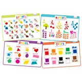 Educational Kids Placemats Set of 4: Alphabet, Numbers, Shapes, Colors - Bundle - Non Slip Washable