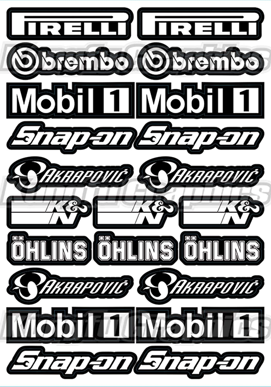 Kungfu Graphics Sponsor Logo Racing Sticker Sheet Universal 7.2x 10.2 inch White