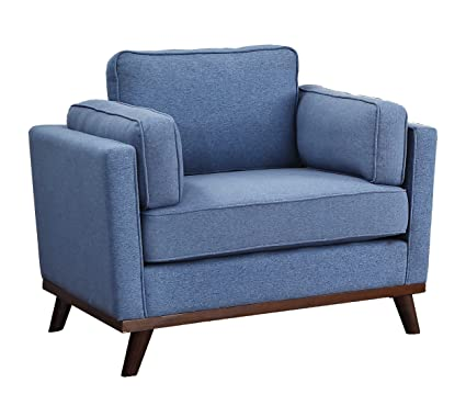 Homelegance 8289BU-1 Bedos Upholstered Living-Room Arm, Blue Fabric Chair