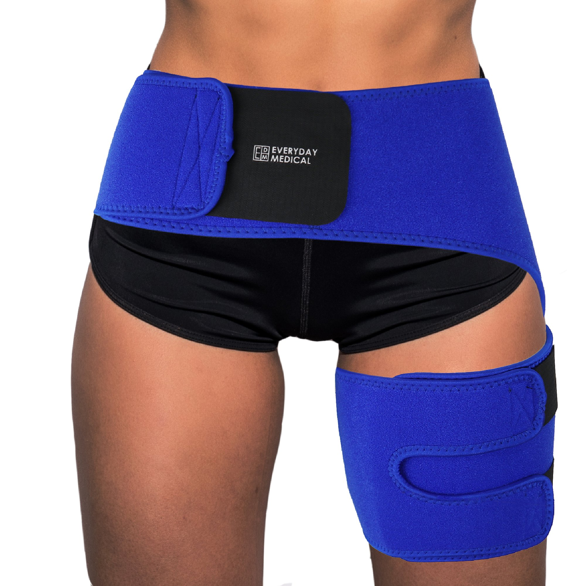 Everyday Medical Groin Compression Wrap for Relief of Hip Pain, Hip Injury, Hip Arthritis, Pulled Hip Flexor/Groin/Hamstring & More - Hernia & Si Joint Belt Brace for Men and Women
