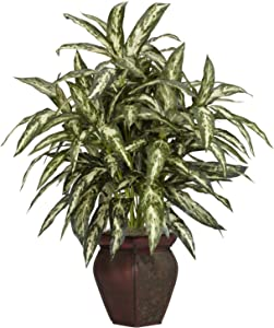 "Nearly Natural 6673 30in. Aglaonema with Decorative Vase Silk Plant,Green,7.5"" x 9"" x 30"""