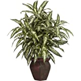 Nearly Natural 6673 Aglaonema with Vase Decorative Silk Plant, Green