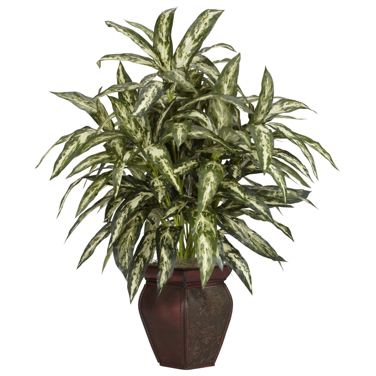 Nearly Natural 6673 Aglaonema with Vase Decorative Silk Plant, Green by Nearly Natural