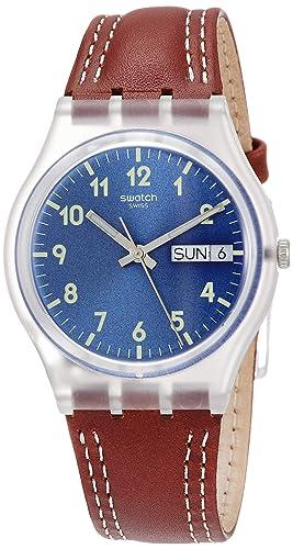 Swatch Reloj Analogico para Hombre de Cuarzo con Correa en Cuero GE709: Amazon.es: Relojes