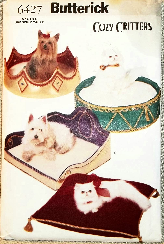 Oop Butterick patrón 6427. acogedor Critters mascota camas ...