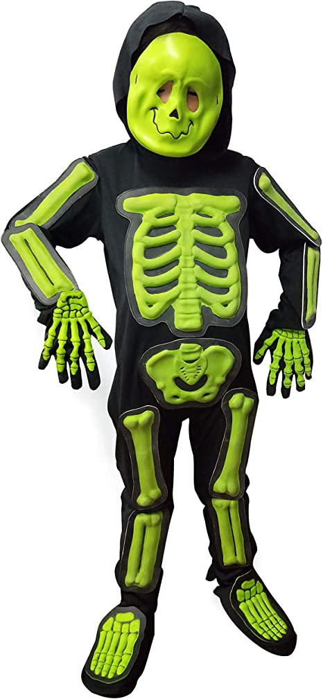 IKALI Kids Halloween Skeleton Costume, 3D Glow in the Dark Bone Jumpsuit 4pcs For Age 4 6 Years