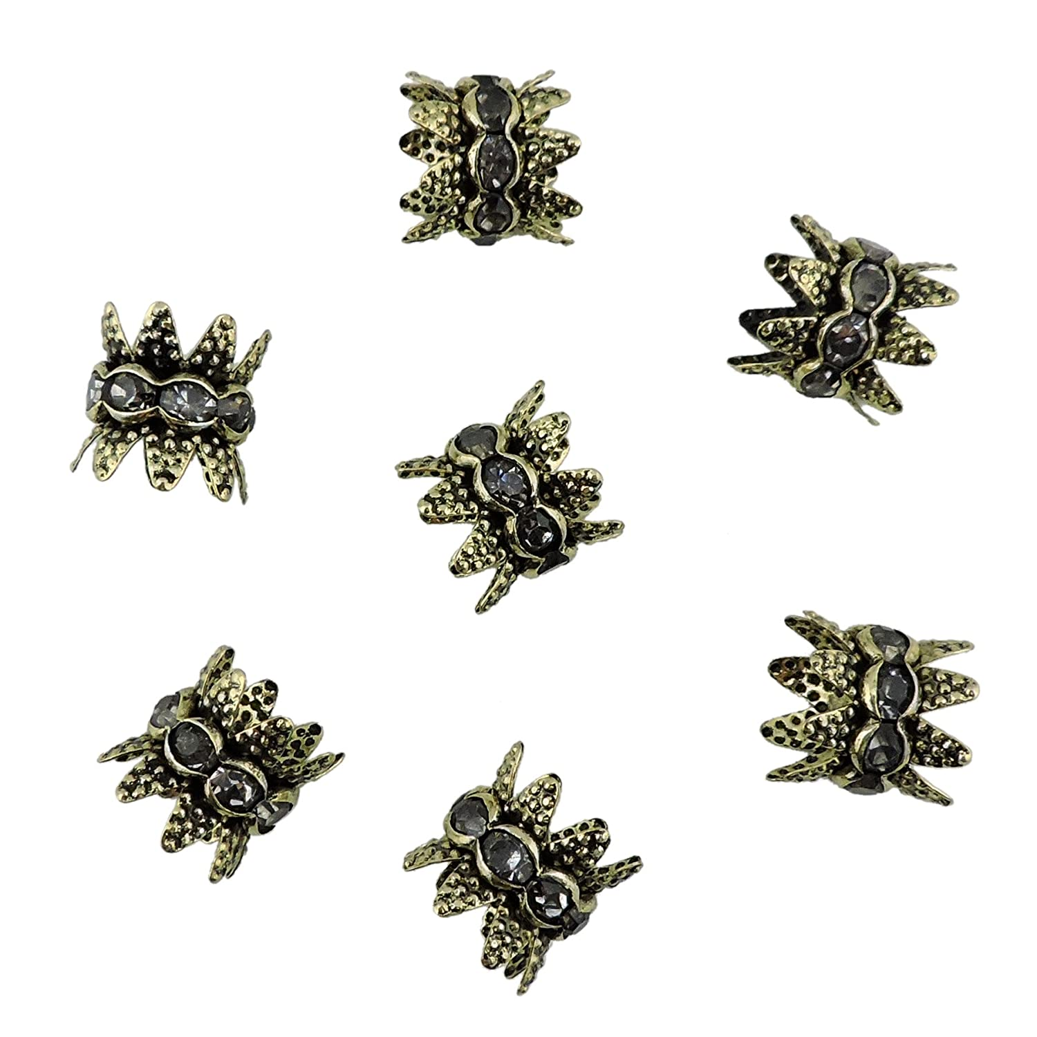 30PCS 10mm Double Beads Caps With Rhinestone Filigree Flower Cup for Jewelry Making DIY (HT-1000-6) Coiris