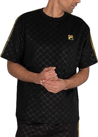 Fila pour des Hommes T Shirt Oversize en Relief Pelle, Noir