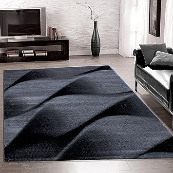 Teppiche PARMA Modern Designer Für Wohnzimmer,kurzflor Wellenteppich  Meliert,mit Modernen Farben Wie Schwarz