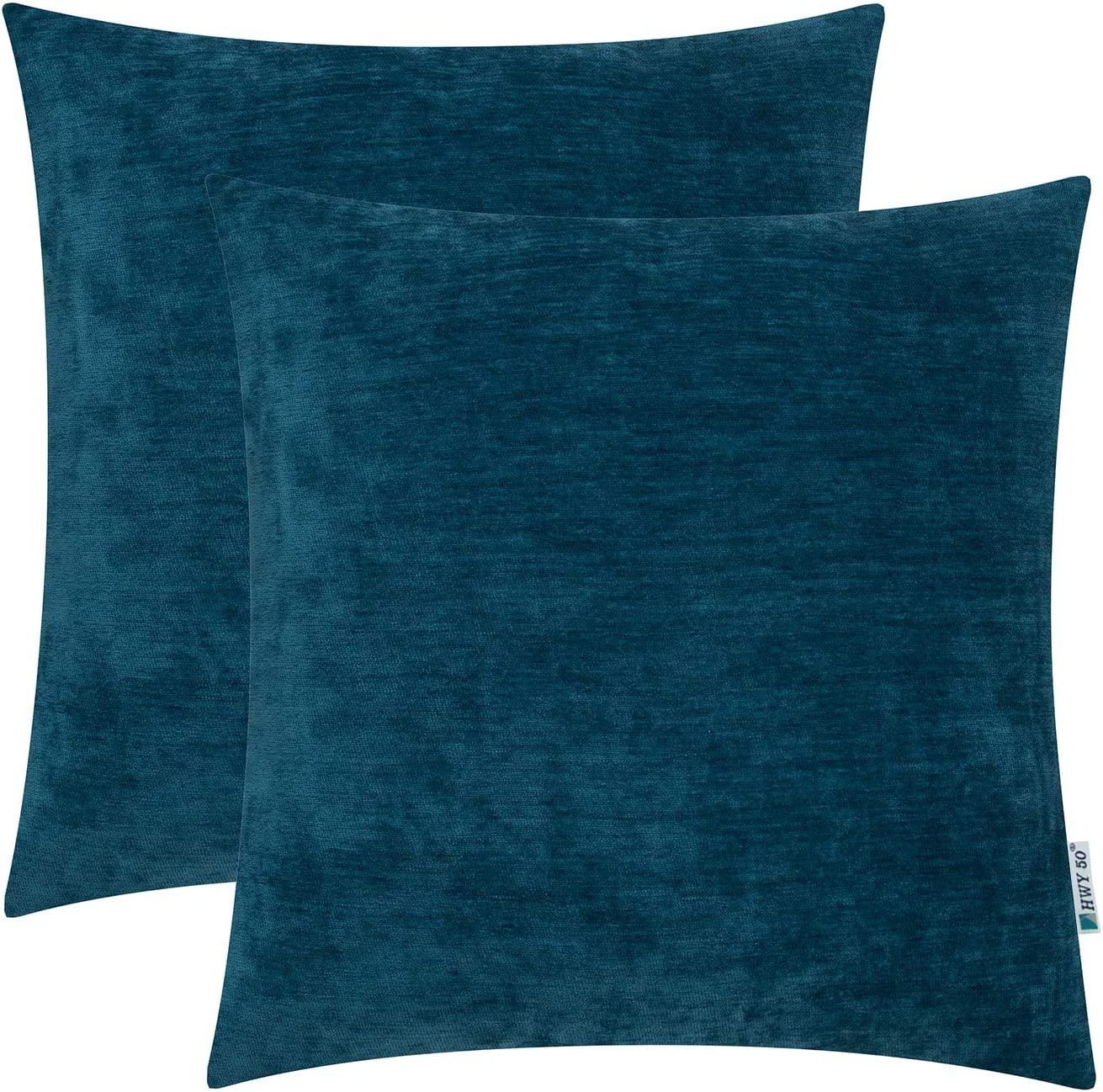 HWY 50 Chenille Soft Comfy Solid Decorative Throw Pillows Covers Set Cushion Cases for Couch Sofa Living Room Indigo 18 x 18 inches Pack of 2