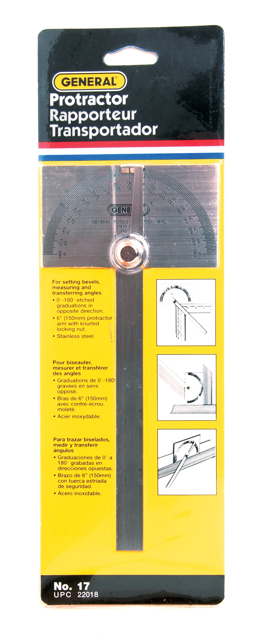 General Tools 17 Square Head Stainless Steel Angle Protractor, 0 to 180 Degrees, 6-Inch Arm