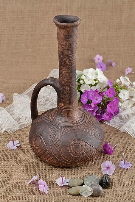 Botella de ceramica marron hecha a mano para decorar la casa regalo original