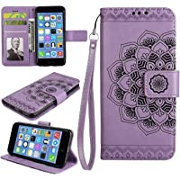 Galaxy J7 Prime Case, Bear Village® Leather Wallet Cover, Anti-Scratch Embossing PU Case with Magnetic Closure and Card Slots for Samsung Galaxy J7 Prime (#5 Purple)