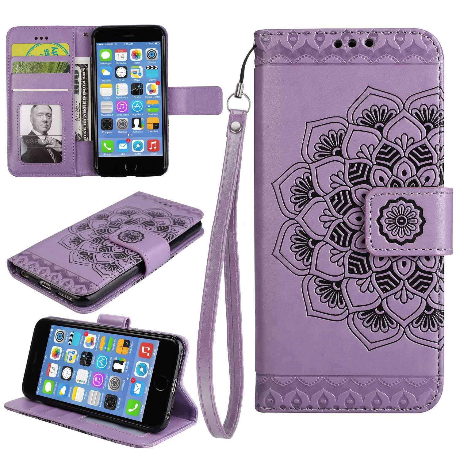 Sony Xperia Z5 Case, Bear Village Leather Wallet Cover, Anti-Scratch Embossing PU Case with Magnetic Closure and Card Slots for Sony Xperia Z5 (#5 Purple)