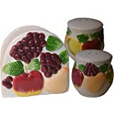 Napkin Holder w/ Salt & Pepper Shakers Set of 3. Fruit Decor Item # 36-007f
