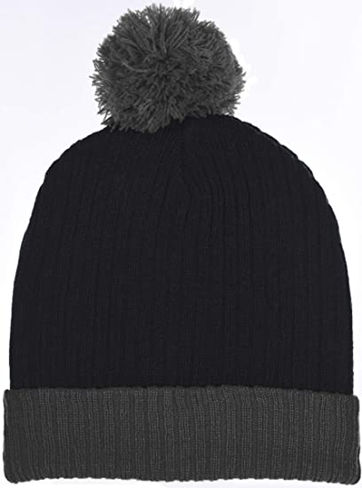 Amazon.com  Boys Traditional Knit Hat with Wraparound Cuff and Pom Top 6  Great Colors Combos (B6B1483 Black Gray)  Clothing 97a31dff662