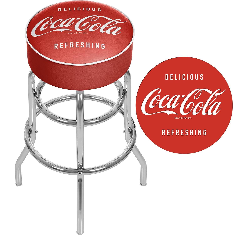 "Amazon Coca Cola ""Delicious Refreshing"" Padded Swivel Bar Stool"