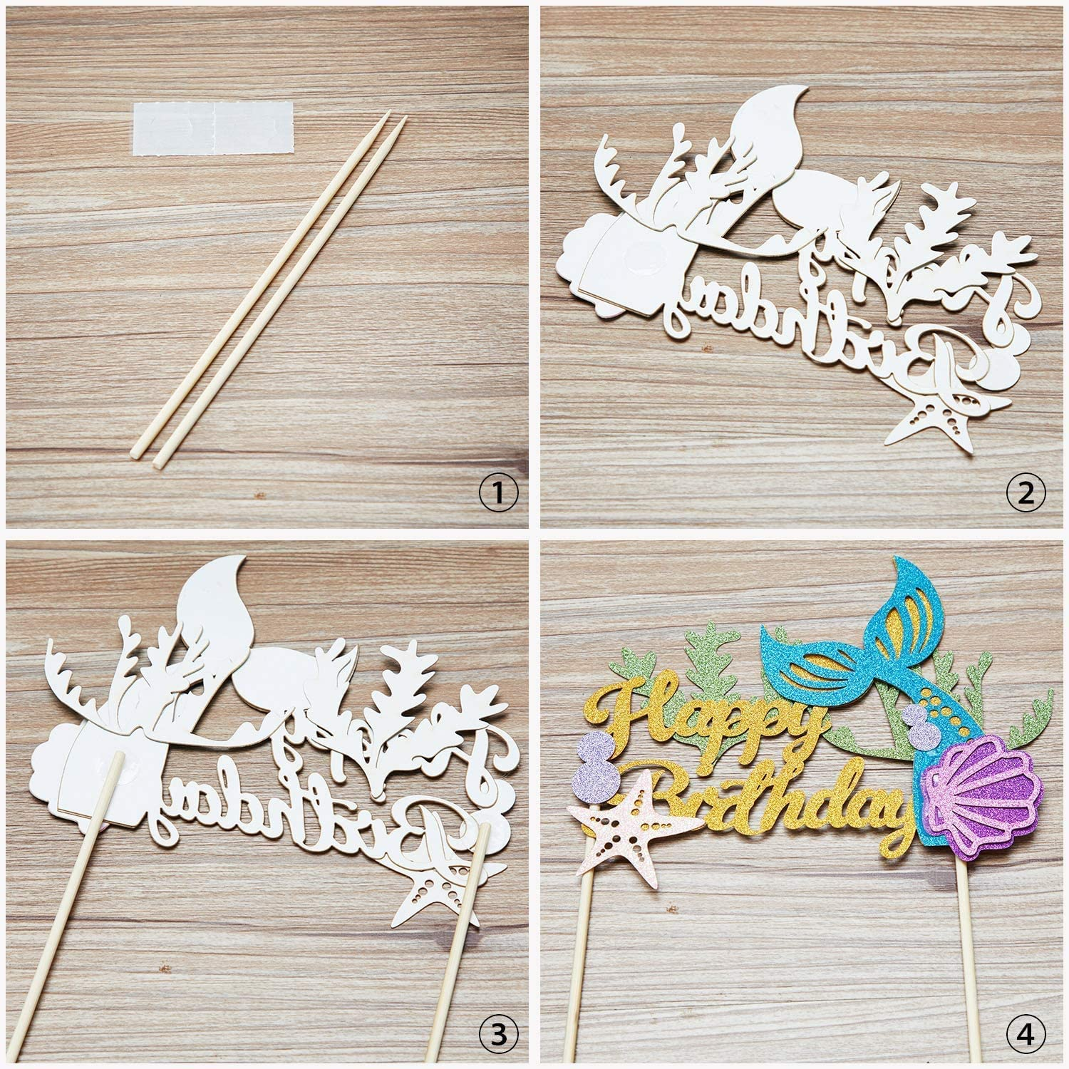 Girls Birthday and Mermaid Party Supplies Mermaid Birthday Party Cake Decoration Set For Baby Shower Rainmae Mermaid 49pcs Kit-Cupcake Toppers+Mermaid Cupcake Wrappers+Happy Birthday Cake Toppers