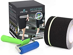 Anti Slip Traction Tape with Glow in Dark Green Stripe and Free Application Roller, 4 Inch x 30 Foot - Best Grip, Friction for Stairs, Tread Step, Black (4 inch X 30 feet Tape + Roller)