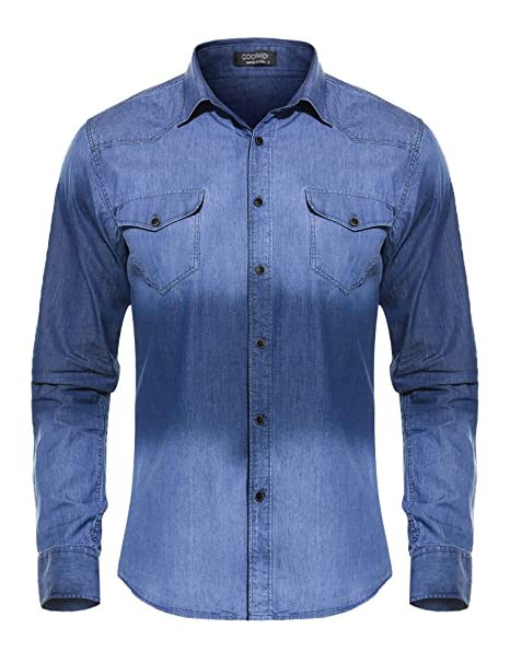 49d222e47a COOFANDY Men s Western Button Down Shirt Casual Long Sleeve Regular Fit  Embroidered Zipper Pockets Denim Shirt