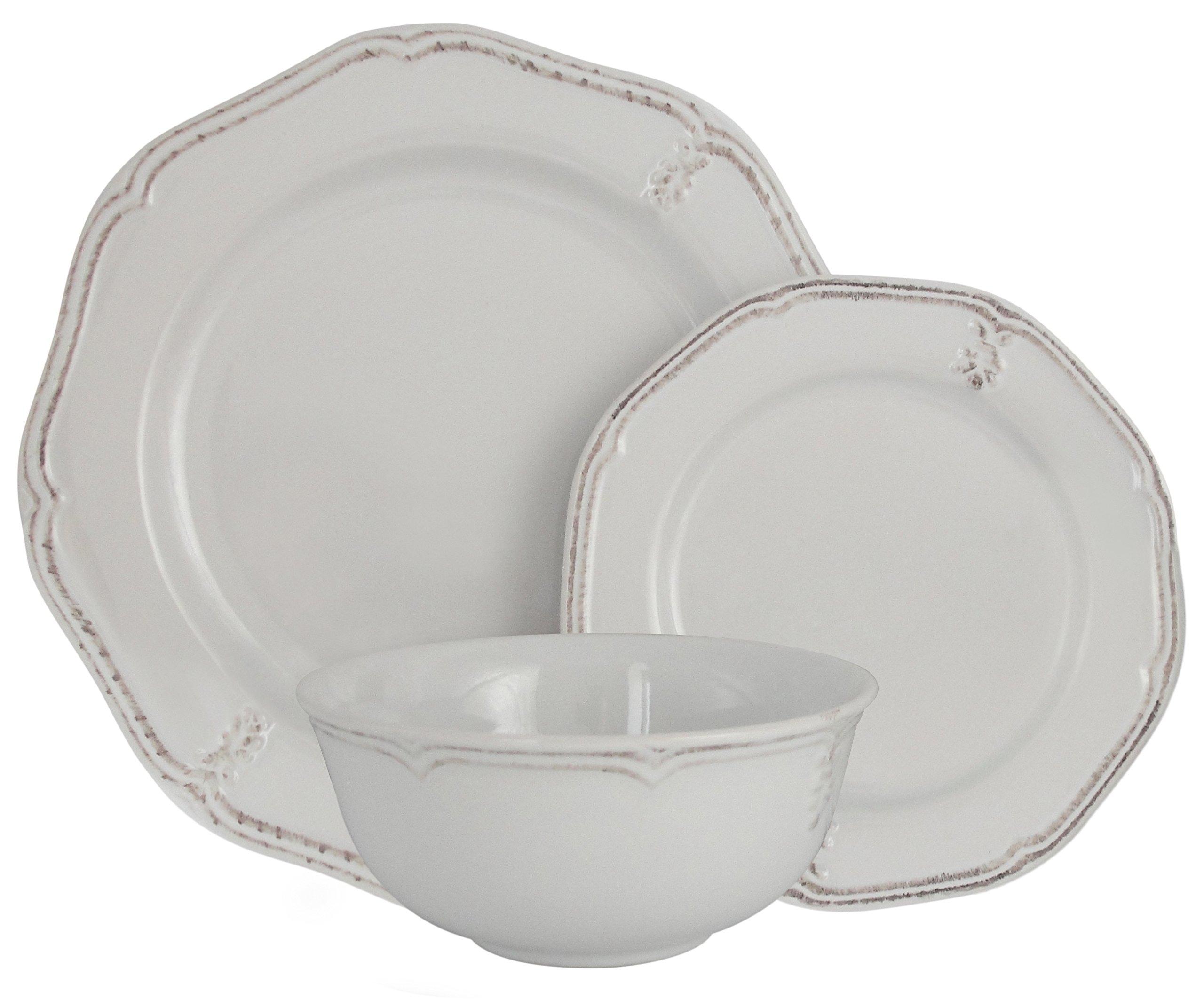 Melange Stoneware 36-Piece Dinnerware Set (Antique White) | Service for 6| Microwave, Dishwasher & Oven Safe | Dinner Plate, Salad Plate & Soup Bowl (12 Each)