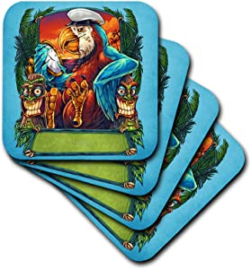 3dRose Sea-faring parrot ship captain with tiki heads - Soft Coasters, set of 4 , set-of-4-Soft, Varies