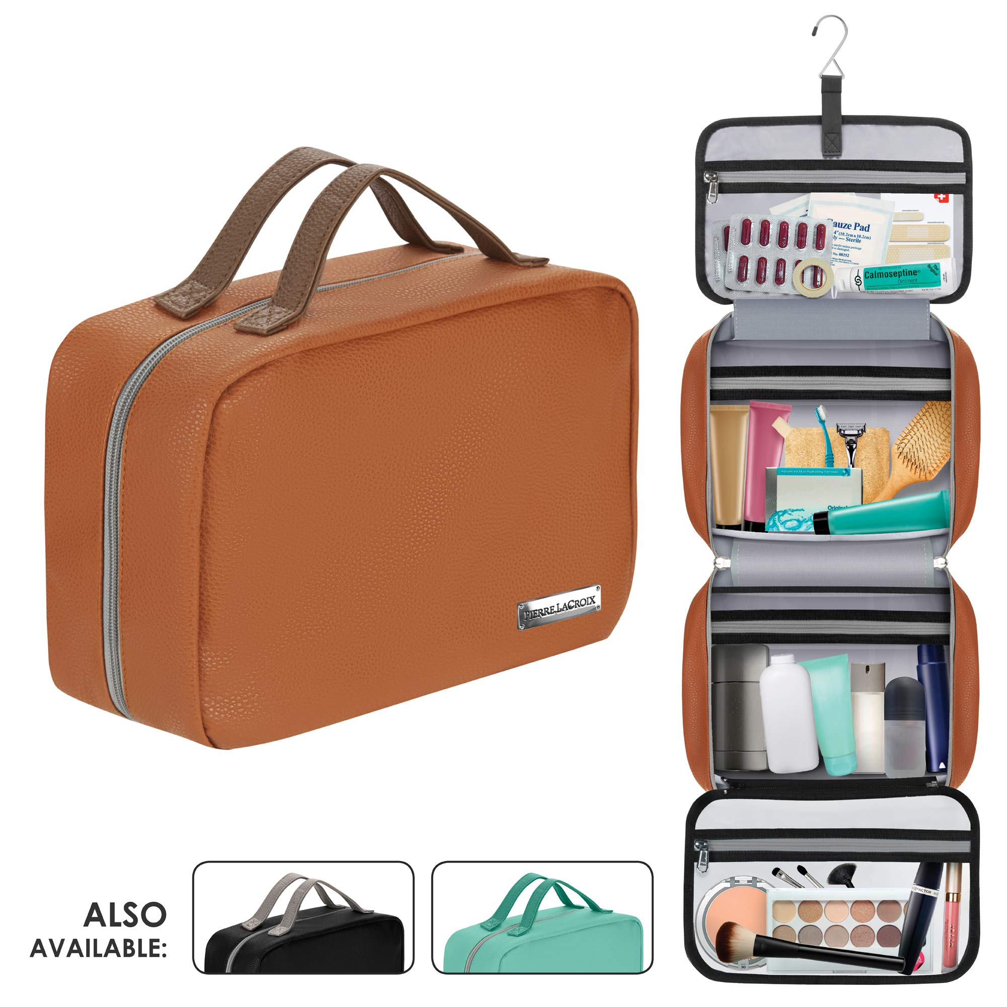 90cbfdc7c662 Cruelty-Free Leather Hanging Travel Toiletry Bag for Men and Women