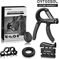 ARTEESOL Hand Grip Strengthener Forearm Trainer Kit 5Pack,Adjustable Hand Gripper(11-132lbs)&Resisitance Finger Exerciser&Grip Ring&Finger Stretcher&Hand Therapy Ball for Athletes
