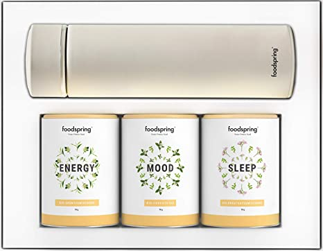foodspring Té Pack de Infusiones, All-Day Vitality, 3 x 70g, con ...