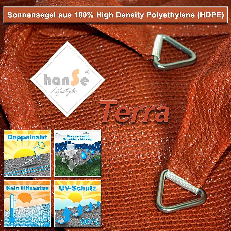 hanSe/® Marken Sonnensegel Sonnenschutz Wetterschutz Wetterbest/ändig HDPE Gewebe UV-Schutz Rechteck 5x7 m Sand