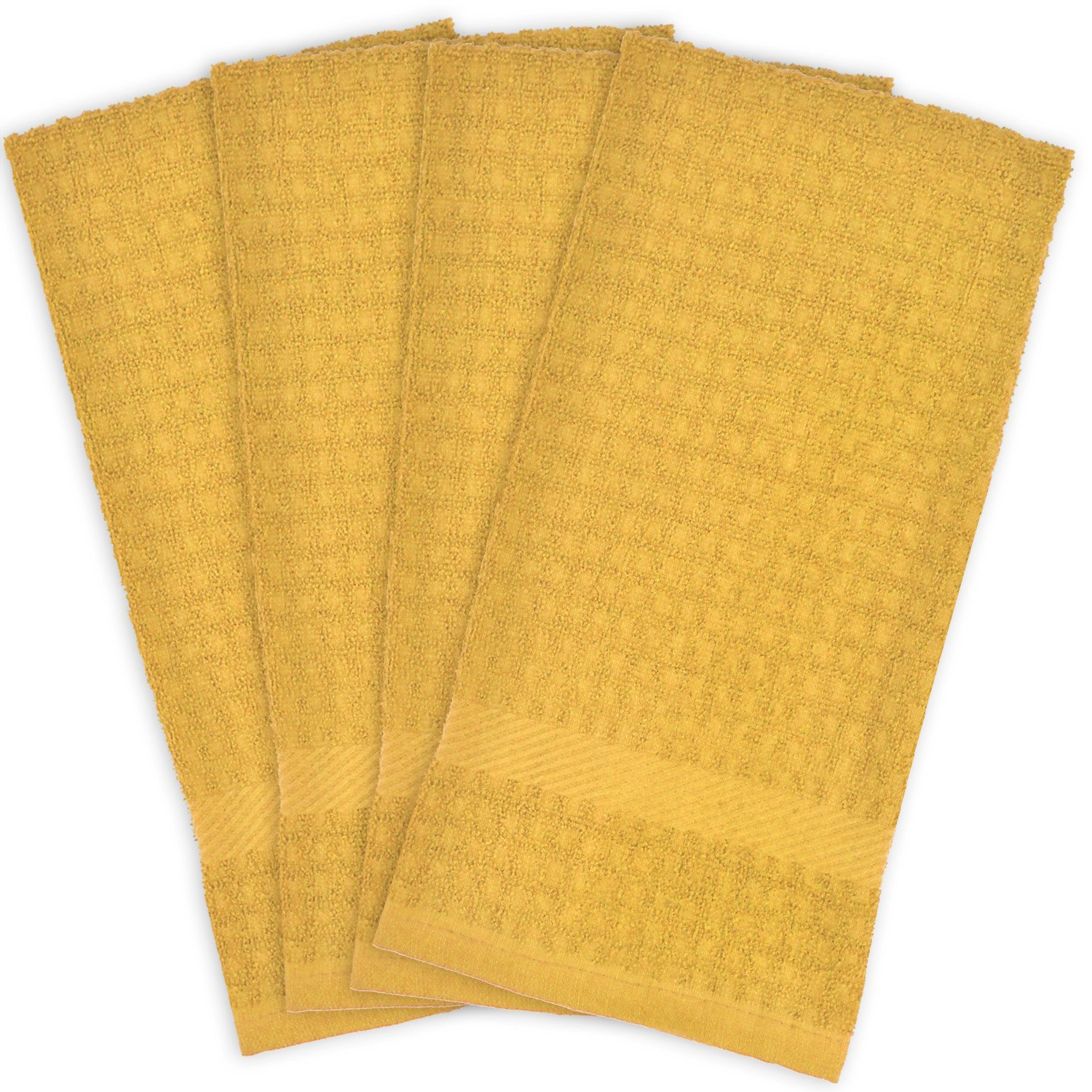 DII Cotton Waffle Terry Dish Towels, 15 x 26'' Set of 4, Ultra Absorbent, Heavy Duty, Drying & Cleaning Kitchen Towels-Mustard