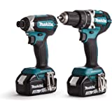 Makita DLX2180TJ 18 V Li-ion LXT Brushless 2 Piece Kit Complete with 2 x 5.0 Ah Li-ion Batteries and Charger in a Stacking Case