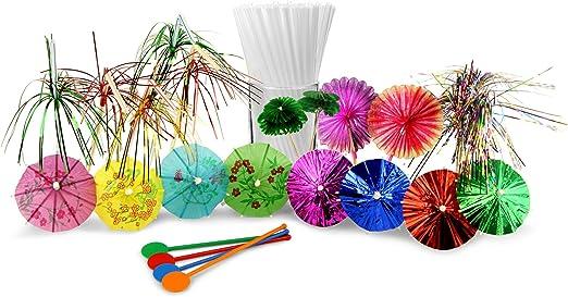 Compra Set de accesorios para cóctel con 24 paragüitas, 10 palos con purpurina, 10 palos de animales, 25 palillos de plástico, 10 bengalas de interior, 1000 pajitas ...