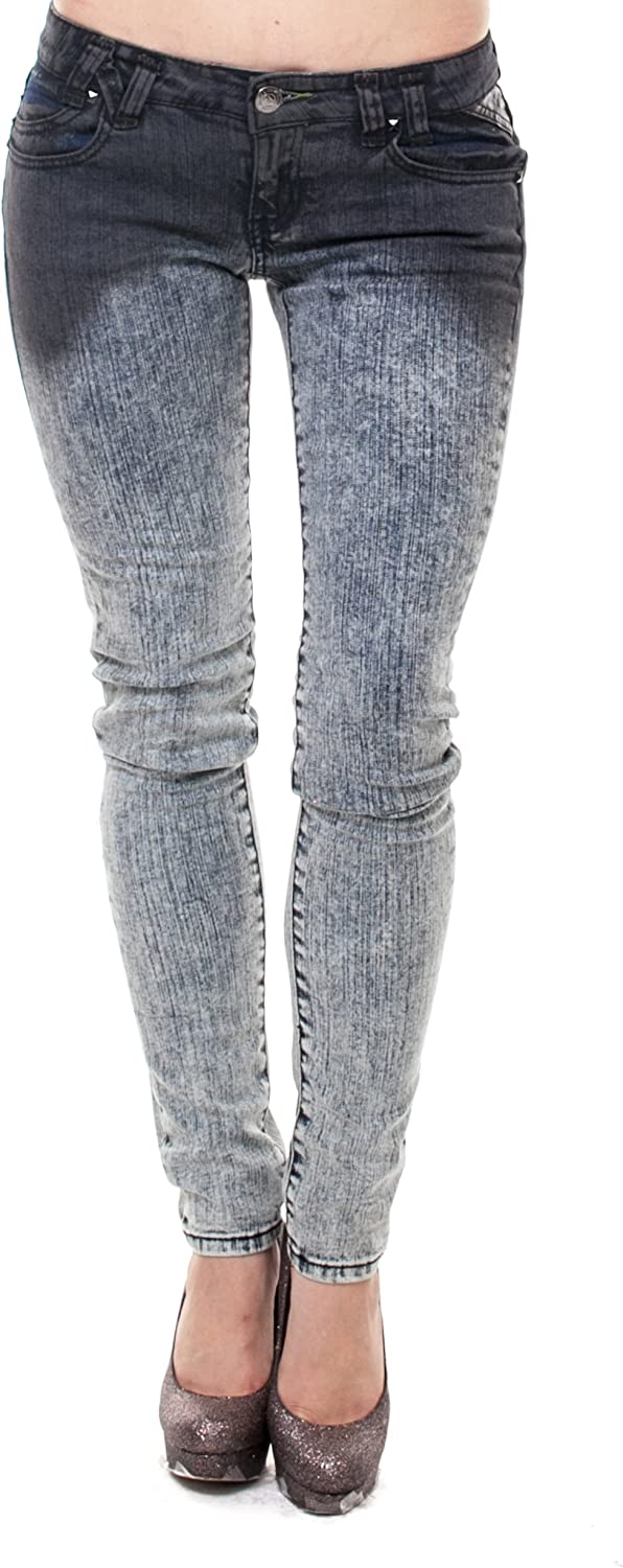 VIRGIN ONLY Women's Ombre Washed Skinny Jeans 81FchBF-T4L