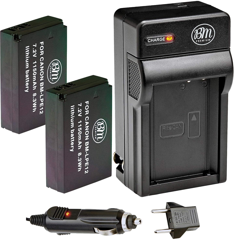 BM Premium 2-Pack Of LP-E12 Batteries & Charger Kit for Canon Rebel SL1 100D, EOS-M, EOS M2, EOS M10 Mirrorless Digital Camera BM-LPE12K4A
