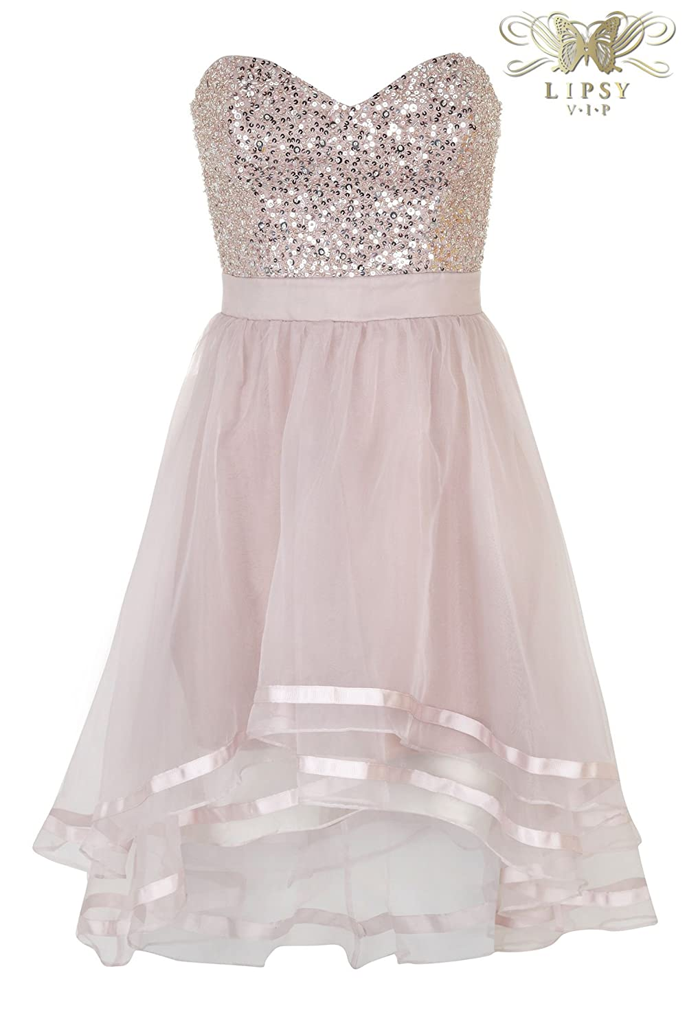 Lipsy VIP Beaded & Sequin Embellished Bust Organza Dipped Hem Prom Dress in Hush Violet (UK 10): Amazon.co.uk: Clothing