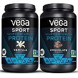 Vega Sport Premium Protein Powder Bundle, Chocolate + Vanilla, Plant Based Protein Powder Post Workout - Certified Vegan, Veg