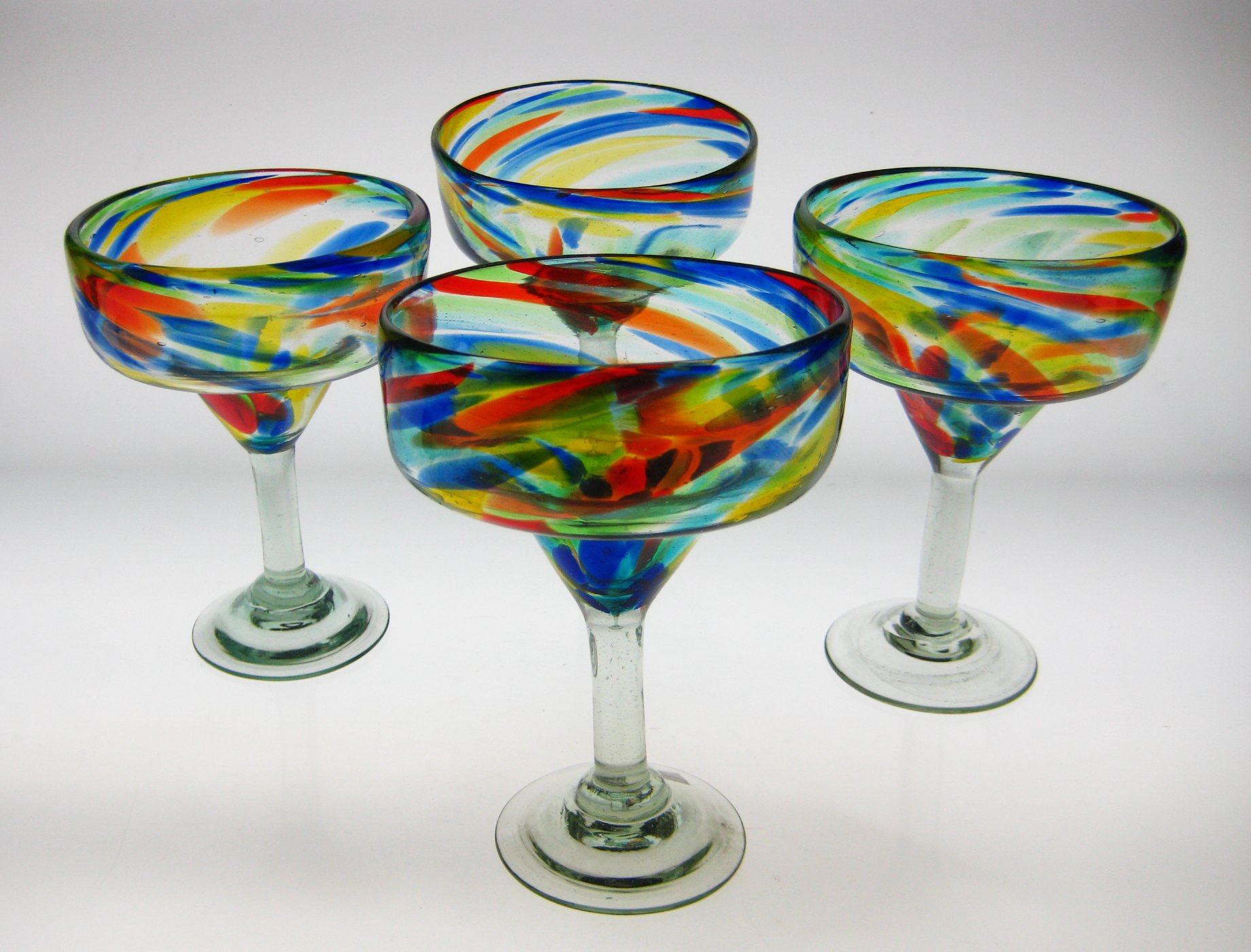 Mexican Glass Margarita Confetti Swirl 4 by Mexican Margarita Glasses