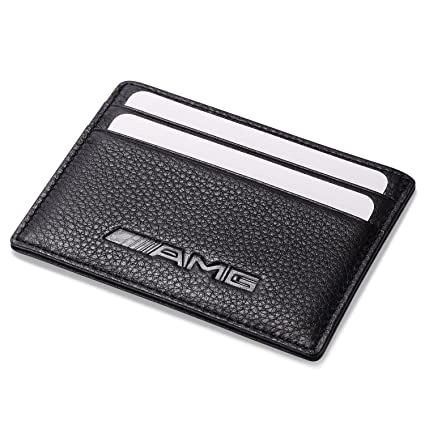 Amg Mercedes Benz Slim Wallet Black With 4 Credit Card Slots   Genuine Leather by Leather Wallets