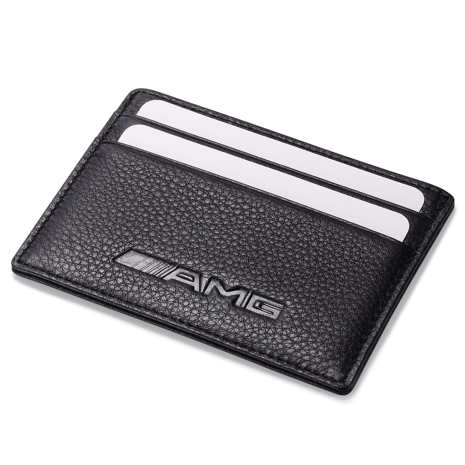 AMG Mercedes Benz Slim Wallet Black with 4 Credit Card Slots - Genuine Leather Leather Wallets