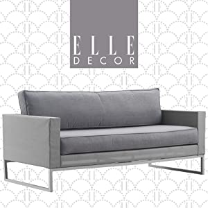Elle Decor Tropez Mesh Outdoor Patio Furniture Collection with Metal Frame Love Seat, Gray