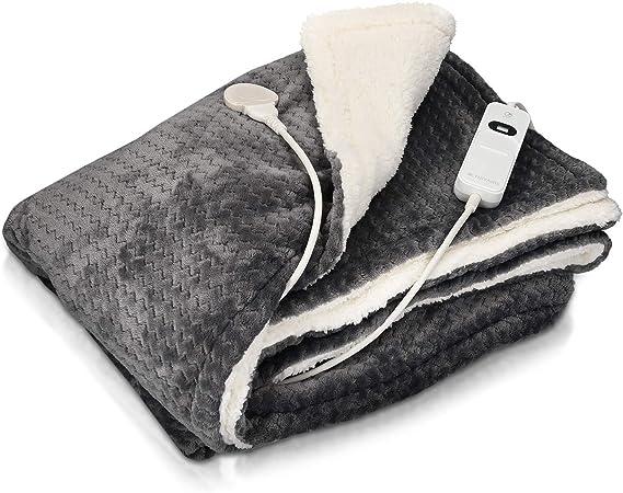 Navaris Manta eléctrica con termostato - Colcha XXL lavable 180 x 130 CM - Manta térmica con regulador de temperatura 3 niveles - Gris y blanco: Amazon.es: Salud y cuidado personal