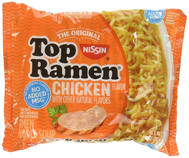 Nissin Top Ramen Noodle Soup Chicken Flavor 3 Ounce Packages - 5 Pack