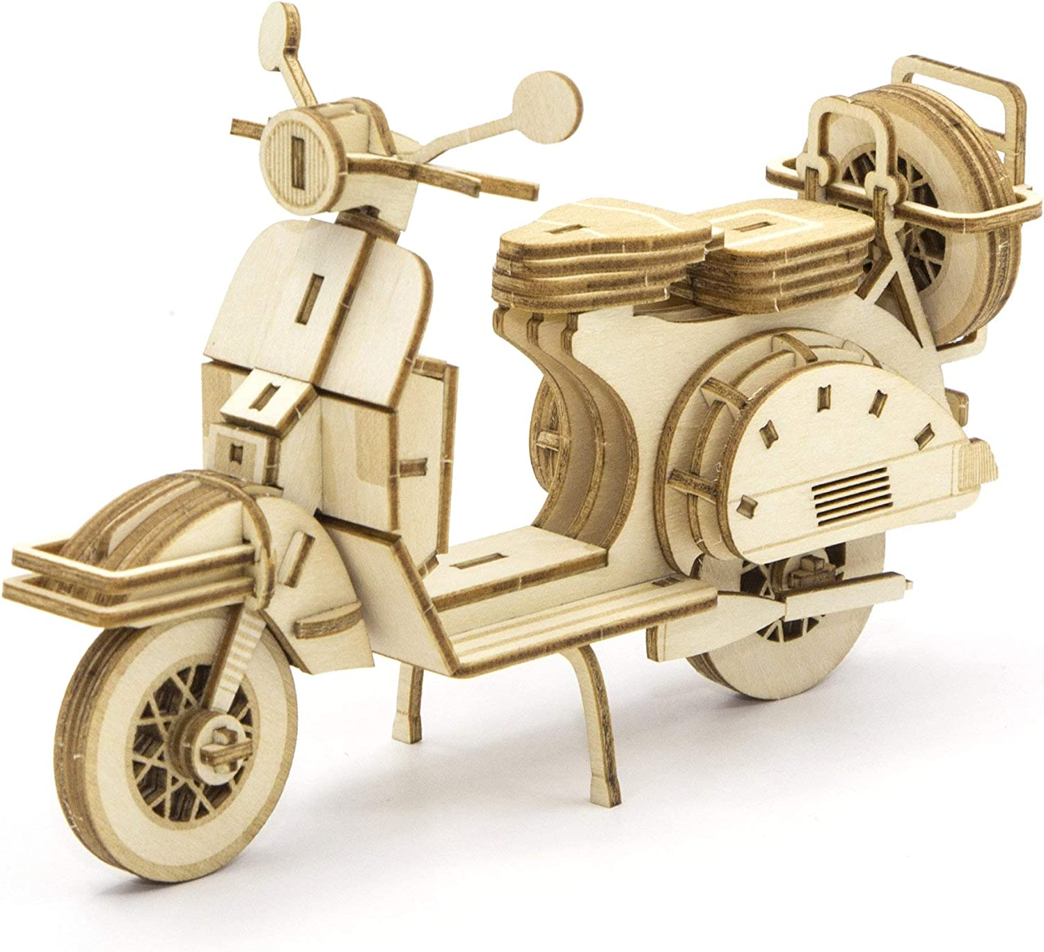 Team Green JIGZLE 2mm Plywood Wooden 3D Puzzle for Teens and Adults Mechanical Models Kits Scooter Classic Vehicles Collection