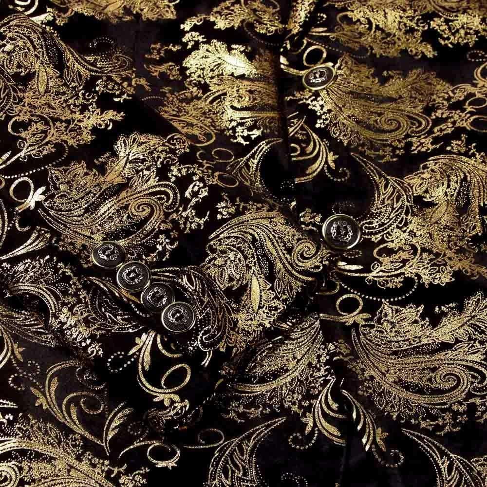 Herren Anzug Gold Druck Blazer Fr/ühling Herbst Slim Fit EIN Knopf Business Blazer Klassisch Freizeit Top Coat Sakko Vintage Gro/ß Anz/üge Vintage Formale Abendessen Hochzeit Anz/üge M-4XL