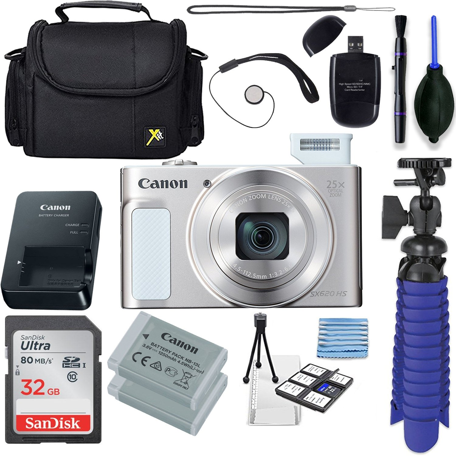 Canon Powershot SX620 (Silver)With 32GB SD Memory Card Accessory Bundle