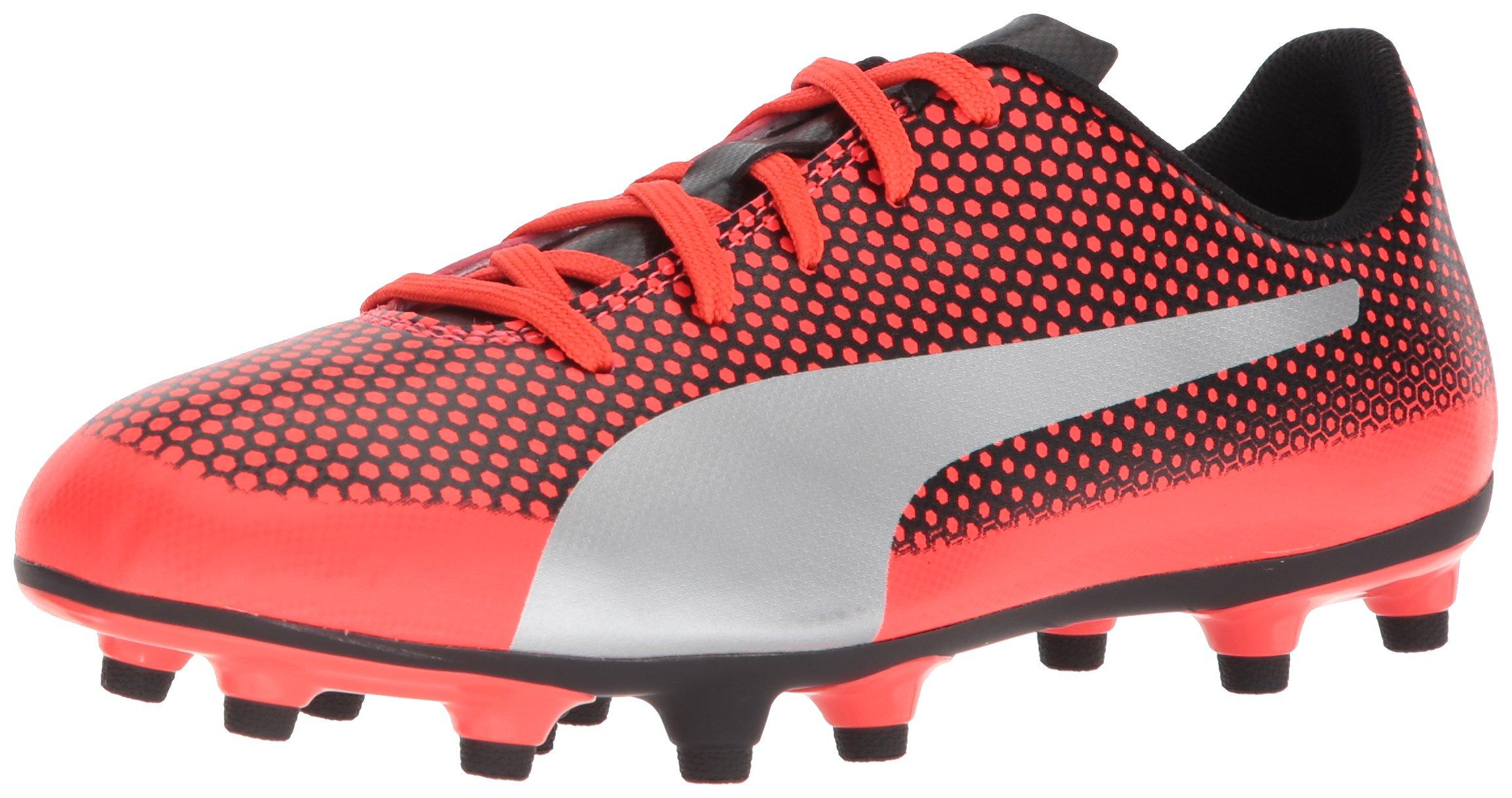 PUMA Unisex-Kids Spirit FG Soccer-Shoes, Red Blast Silver Black, 4 M US Big Kid