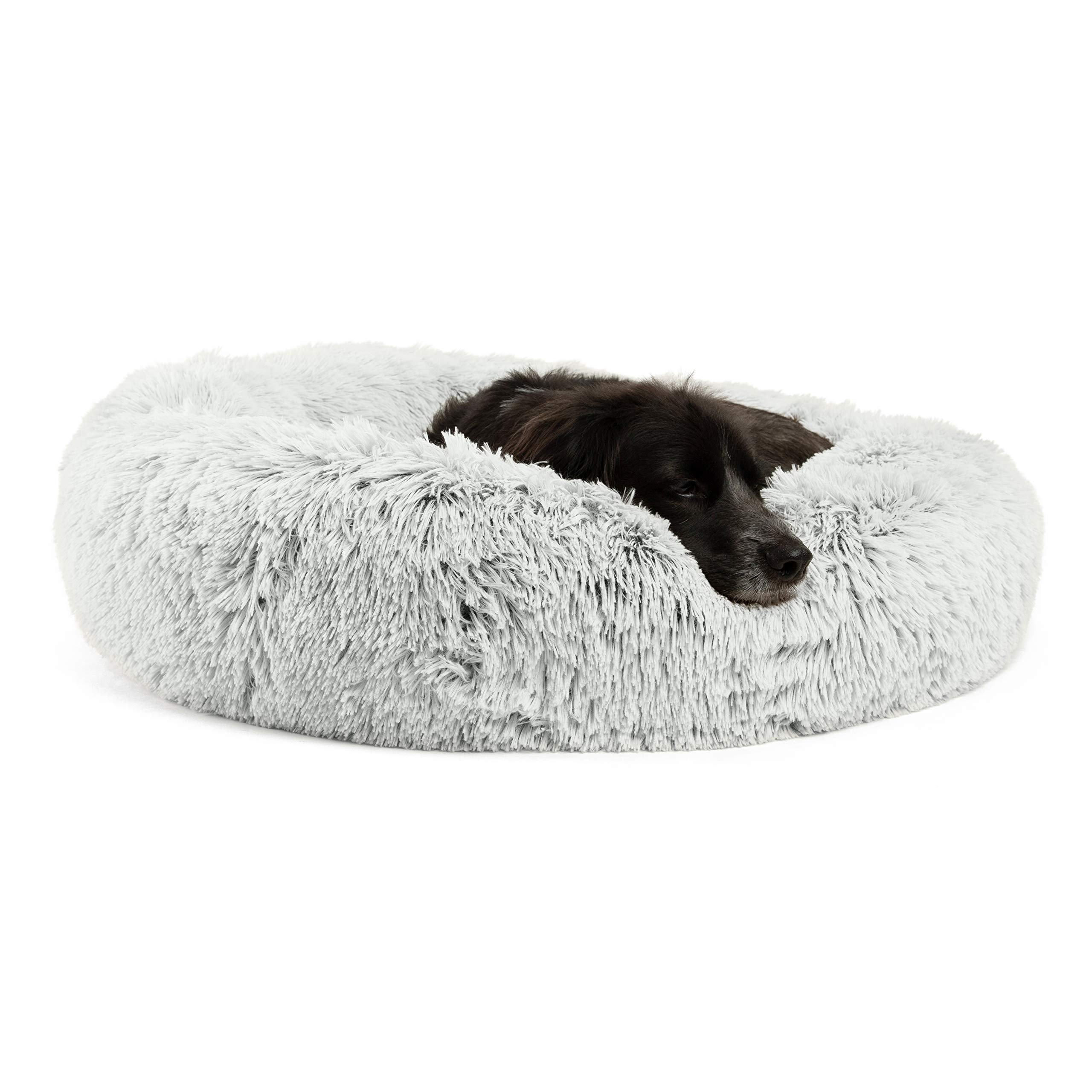 Best Friends by Sheri Calming Shag Vegan Fur Donut Cuddler (30x30, Zippered) - Medium Round Donut Cat & Dog Cushion Bed, Warming & Cozy for Improved Sleep, Machine Washable - Petsup to 45 Lbs by Best Friends by Sheri